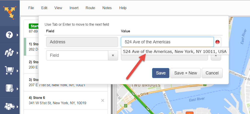 Route4Me as route planner can add addresses with the rapid address input option