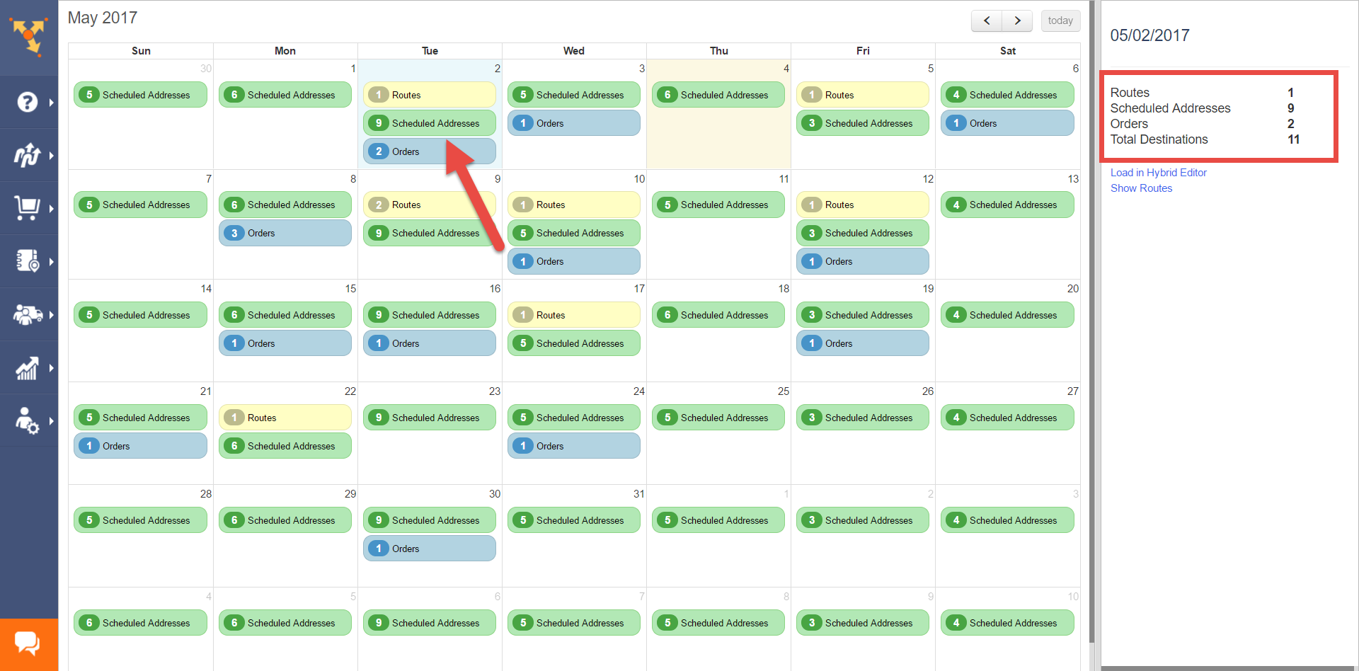 With route scheduling software like Route4Me, you can view scheduled events in a routing calendar