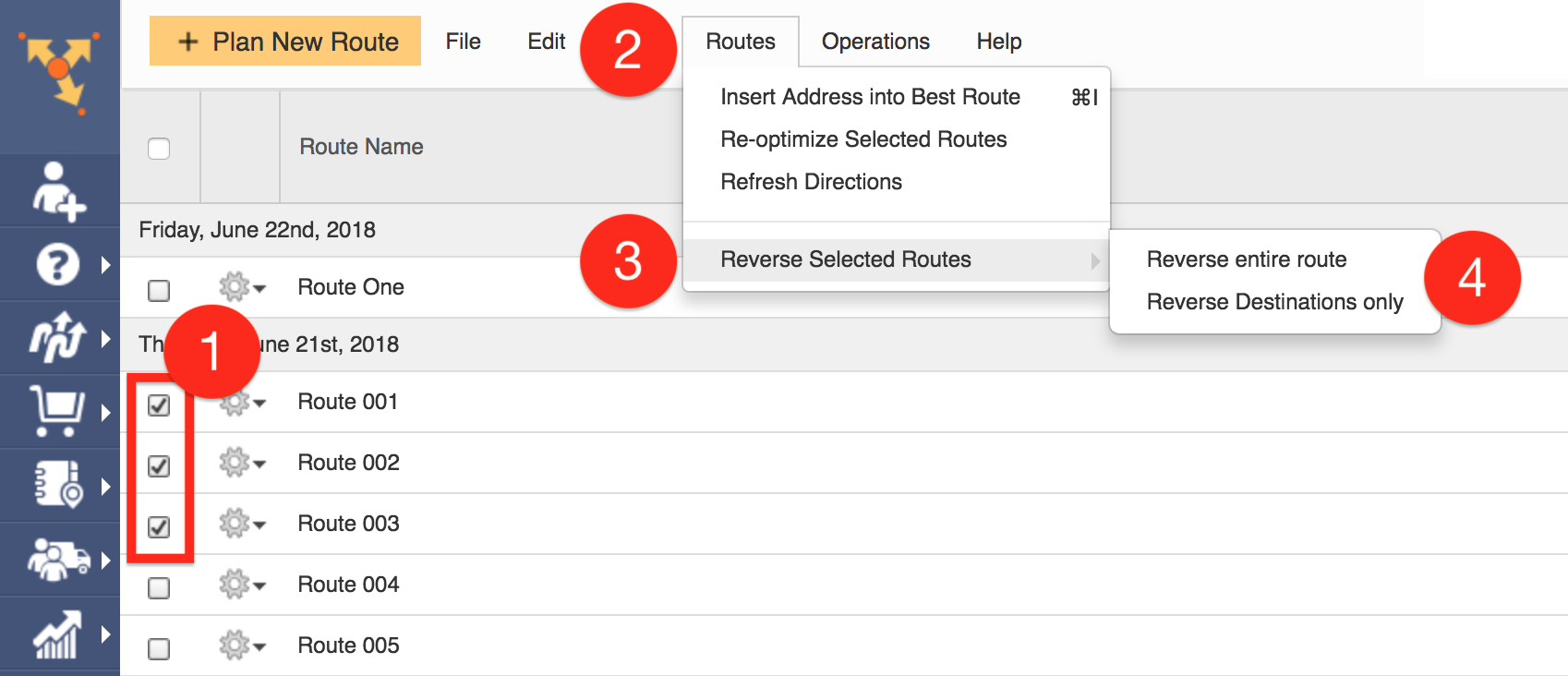 Route4Me offers dynamic routing when it can reverse multiple routes
