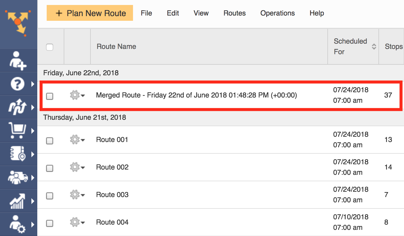 Get one unified route through merged routes with Route4Me