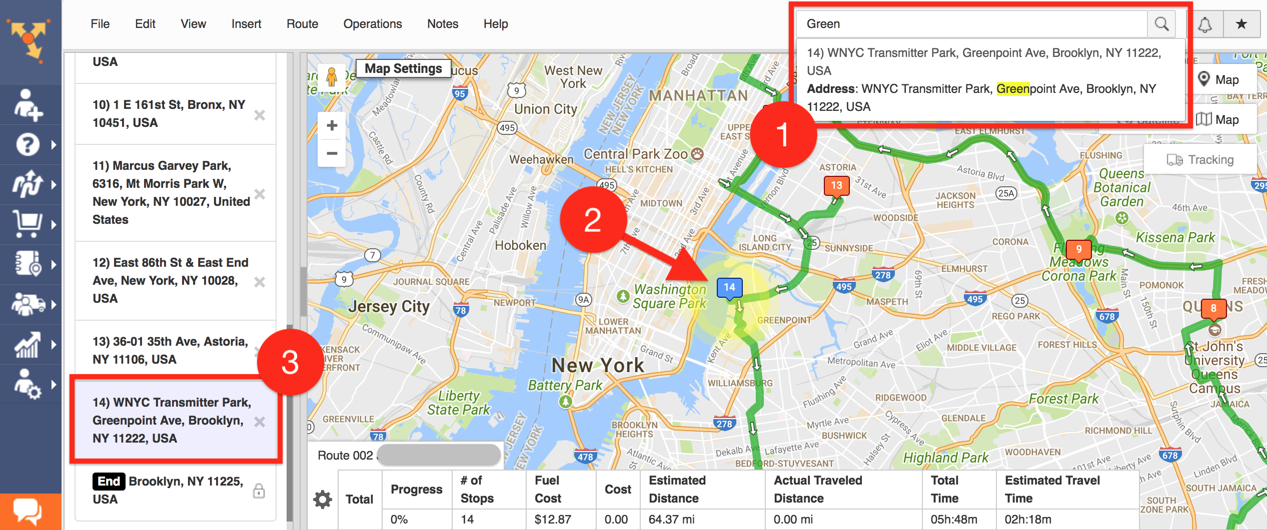 Search inside an individual route using Route4Me's real-time search engine