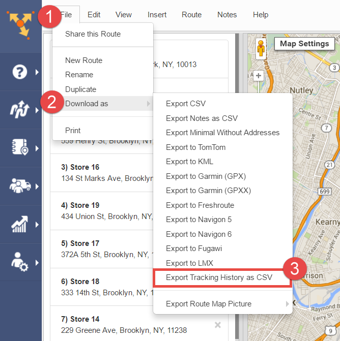 Export routes tracking history from the Route Editor