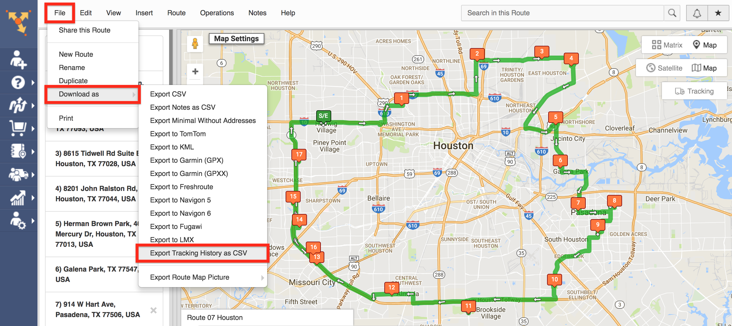 Export Tracking Data with Route4Me - the Best Route Planner