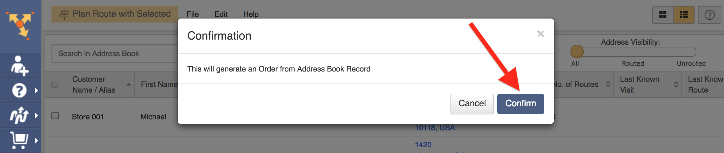 Generate Orders from your Address Book with Route4Me