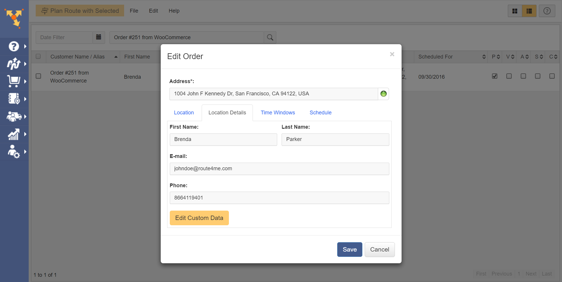 Route4Me serves as route planner through its plugin for WooCommerce