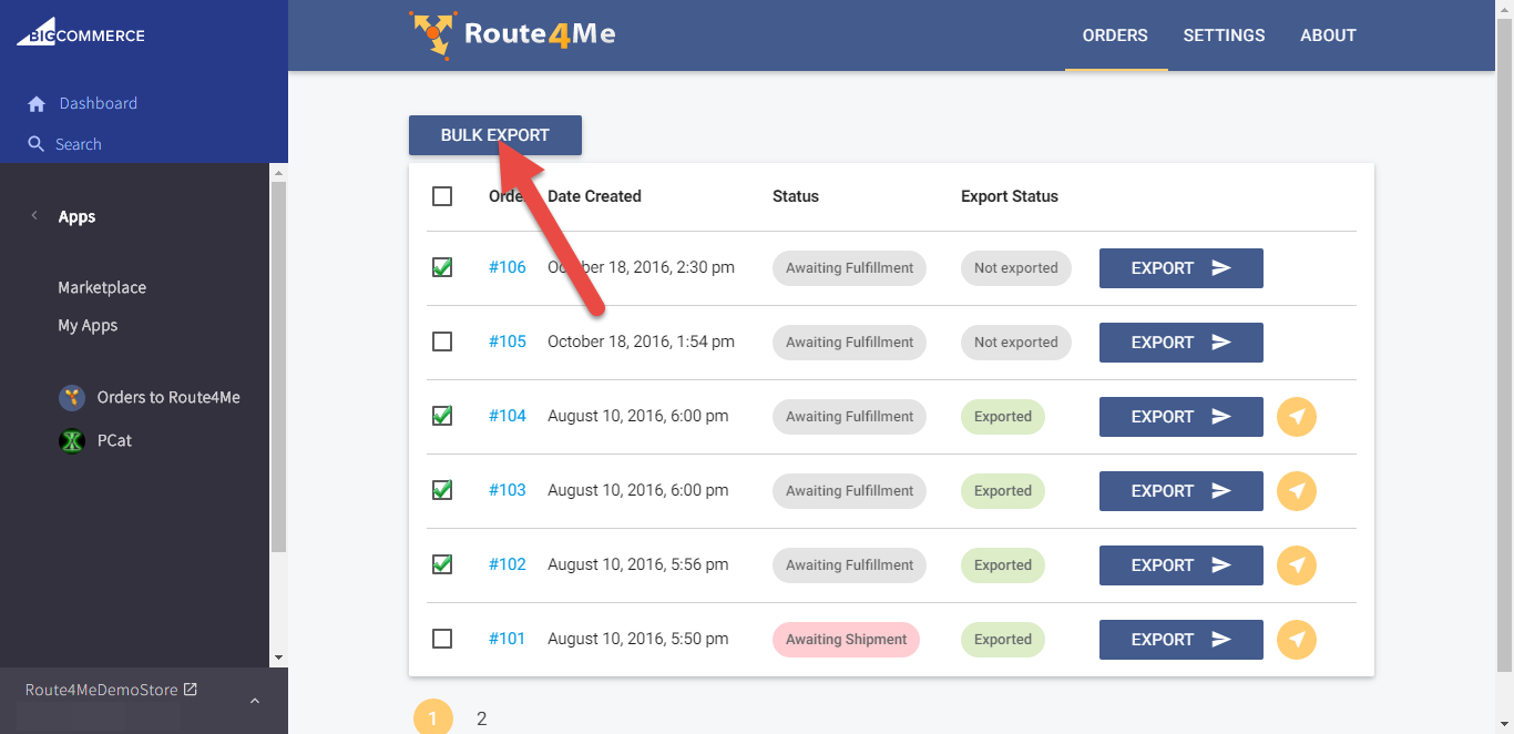 Optimize routes when you use the Route4Me plugin for the BigCommerce E-Commerce platform