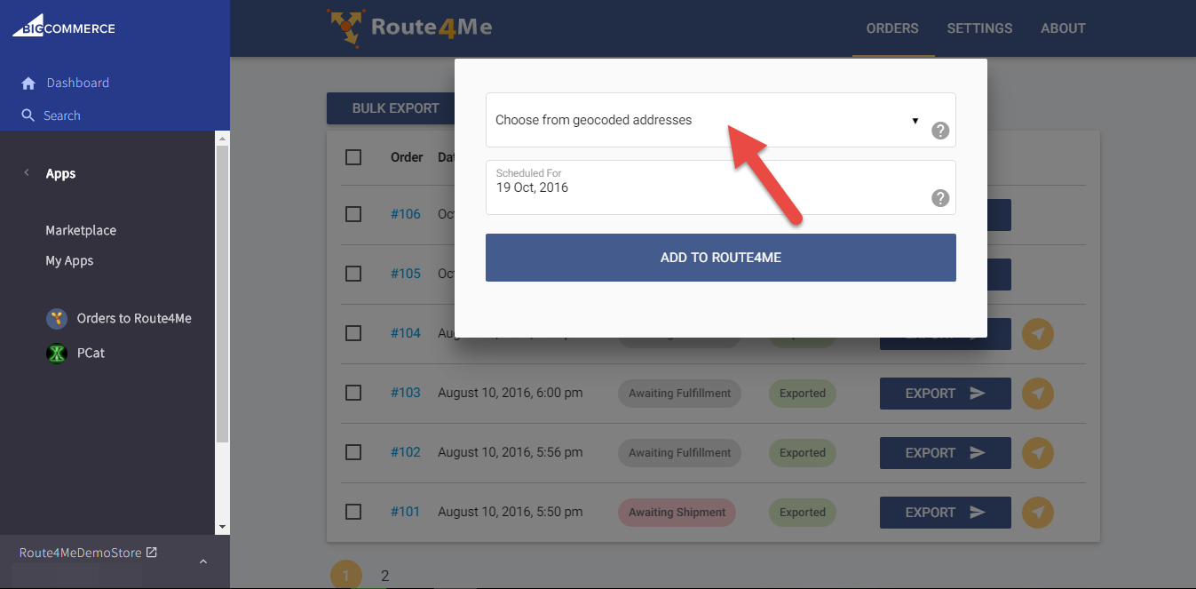 Use the GPS tracking in the Route4Me plugin for BigCommerce's built-in geocoder