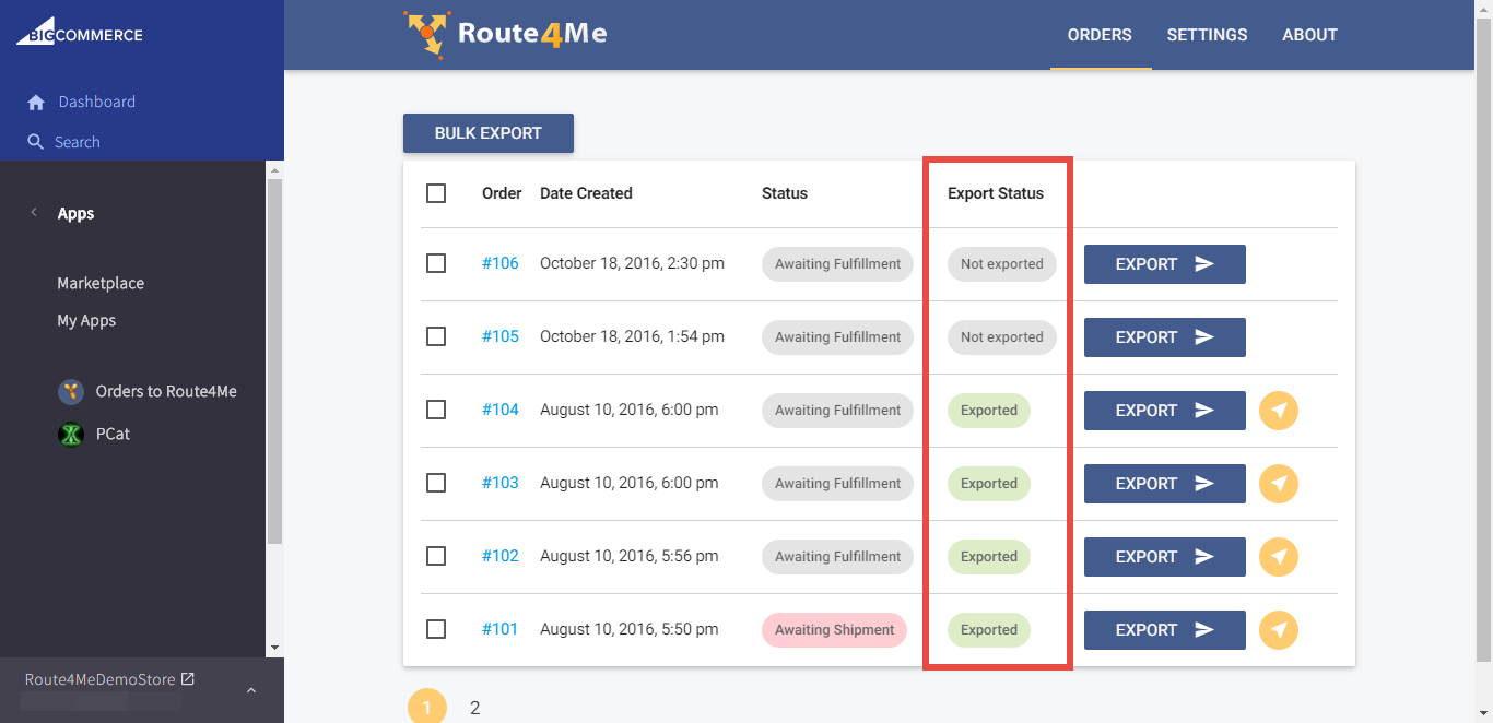For dynamic routing, use the Route4Me plugin to send an order from BigCommerce to Route4Me