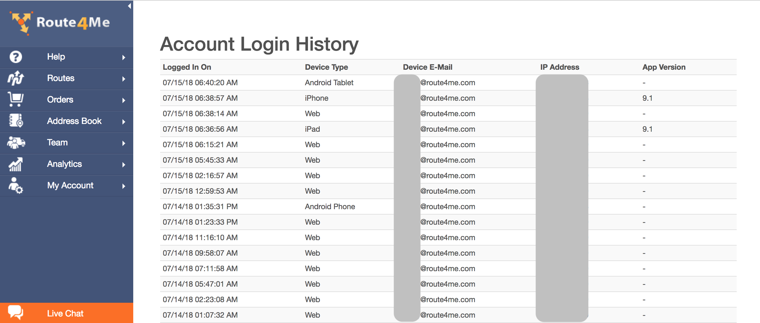 Viewing your Route4Me Account Login History