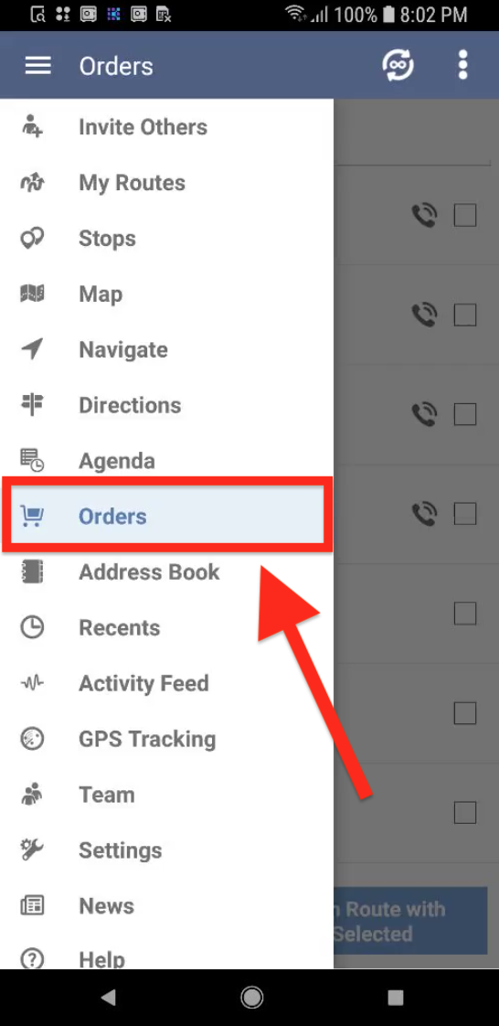 Generating Orders on your Android is easy with Route4Me