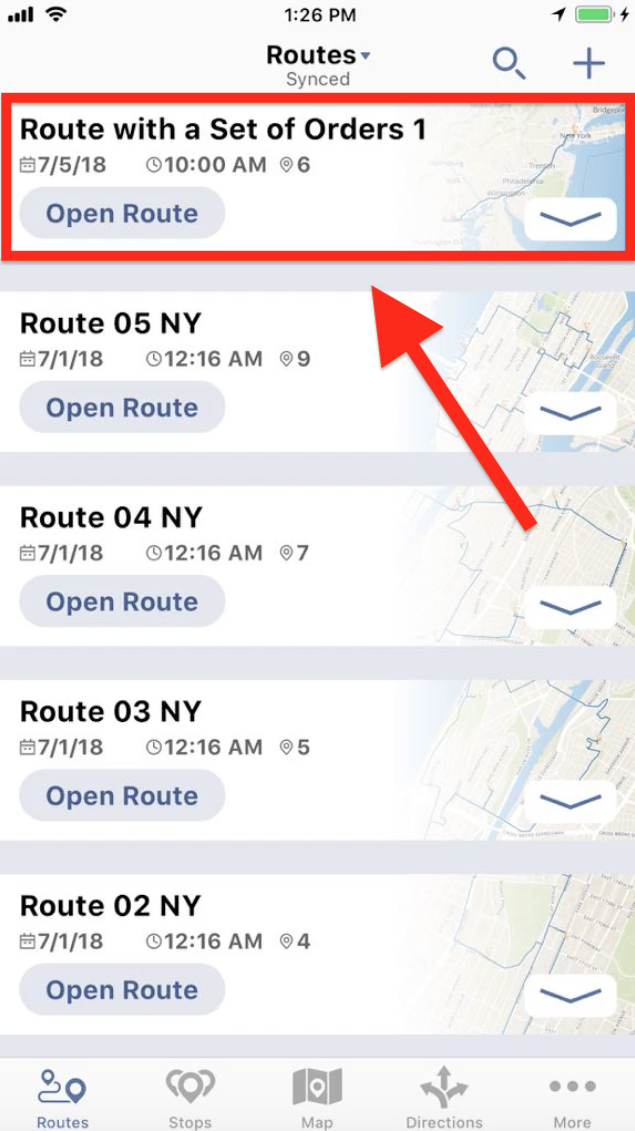 Planning a Route with a Set of Orders on your iPhone