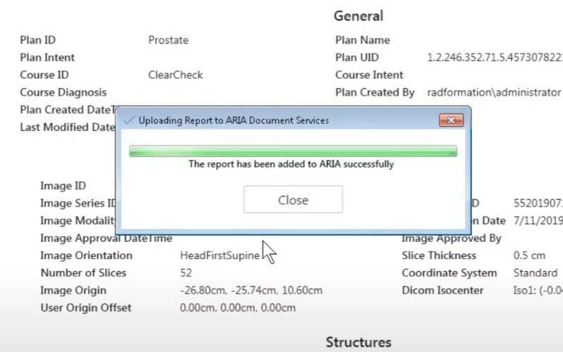 ClearCheck: One-Click Plan Report Printing to ARIA Documents