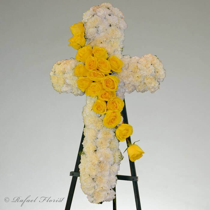 Send Yellow Roses And White Carnations Cross For Memorial Service