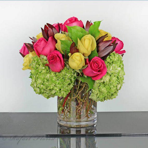 Rainbow rose arrangement in a cylinder vase with green hydrangeas green hydrangeas hot pink yellow roses sunset safari flower arrangement mightylinksfo