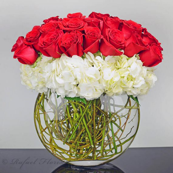 Contemporary red roses and white hydrangea flower arrangement