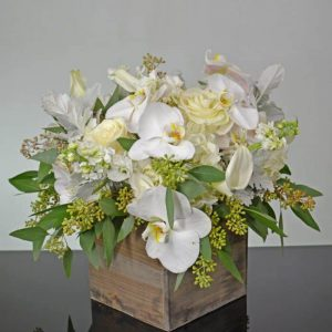 shabby chic white orchids calla lilies hydrangeas roses in wooden box