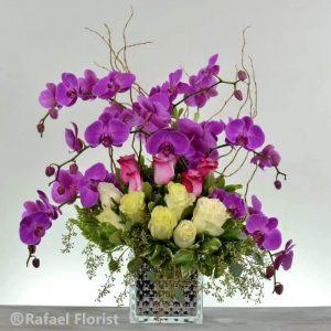 purple orchids white roses lavender roses flower arrangement san rafael 94901 94903