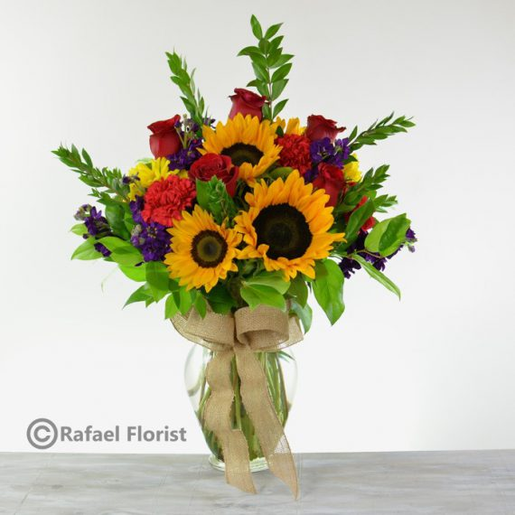 You want to see a smiley face? send this gorgeous sunflower and red ...