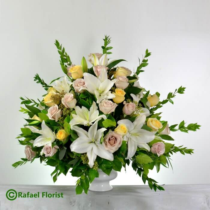 Wedding Decoration Flower Arrangement Of White Lilies Yellow And