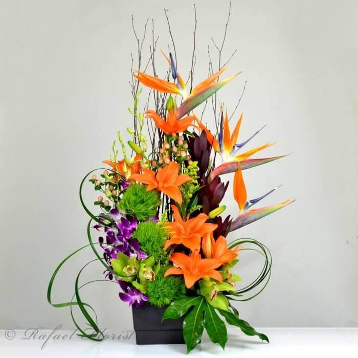 Flower Design Shop: Zen Artistry Of Ikebana Styles With Vibrant Orange And