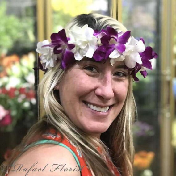 Flower crown of purple & white dendrobium orchids for weddings & more