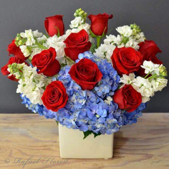 Amazing Grace Red white blue flower arrangement of Roses, Hydrangeas