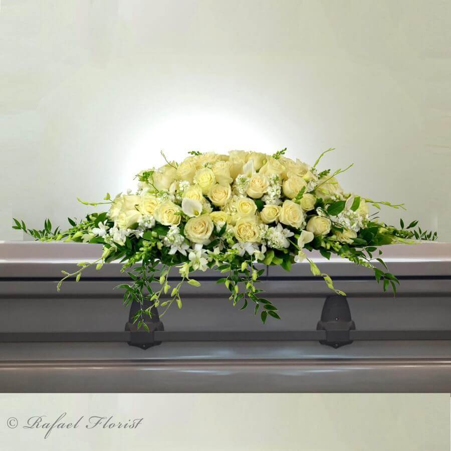 Lovely White Casket Spray For Memorial Service Is Elegant And Beautiful