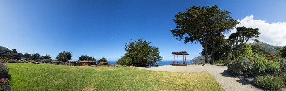 outside grassy area overlooking ocean
