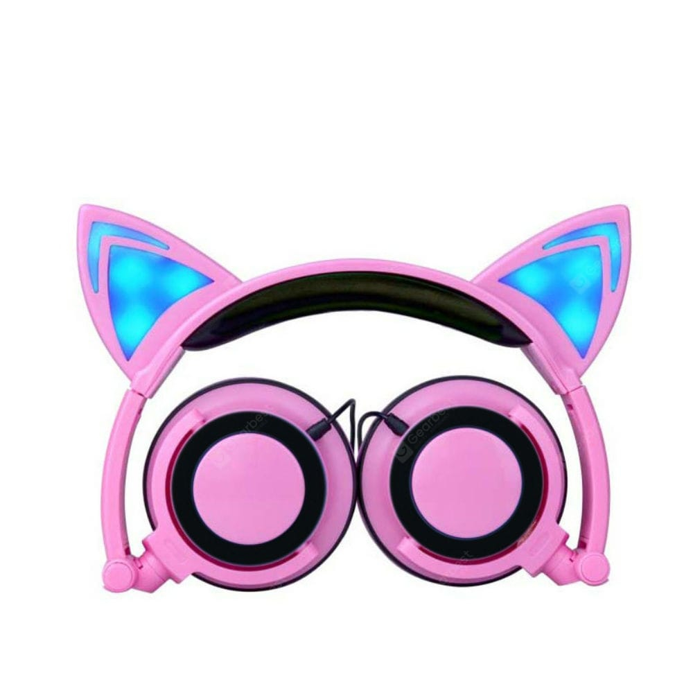 cat ear headphone foldable over ear with led flash light. Black Bedroom Furniture Sets. Home Design Ideas