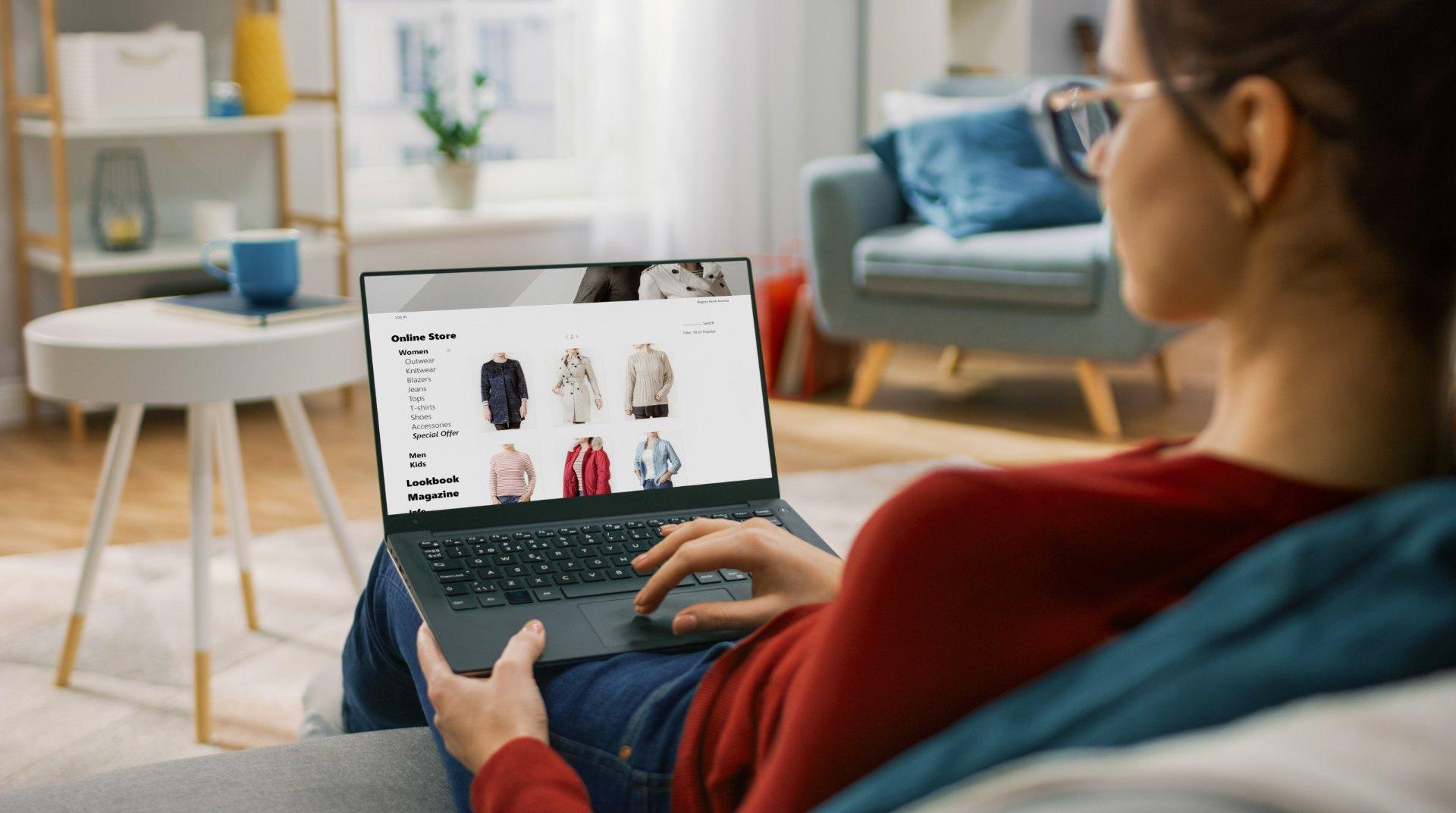Woman browsing an e-shop