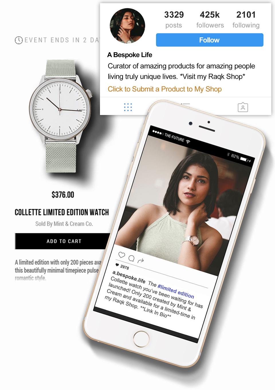 raqk popup shop influencer custom collabs
