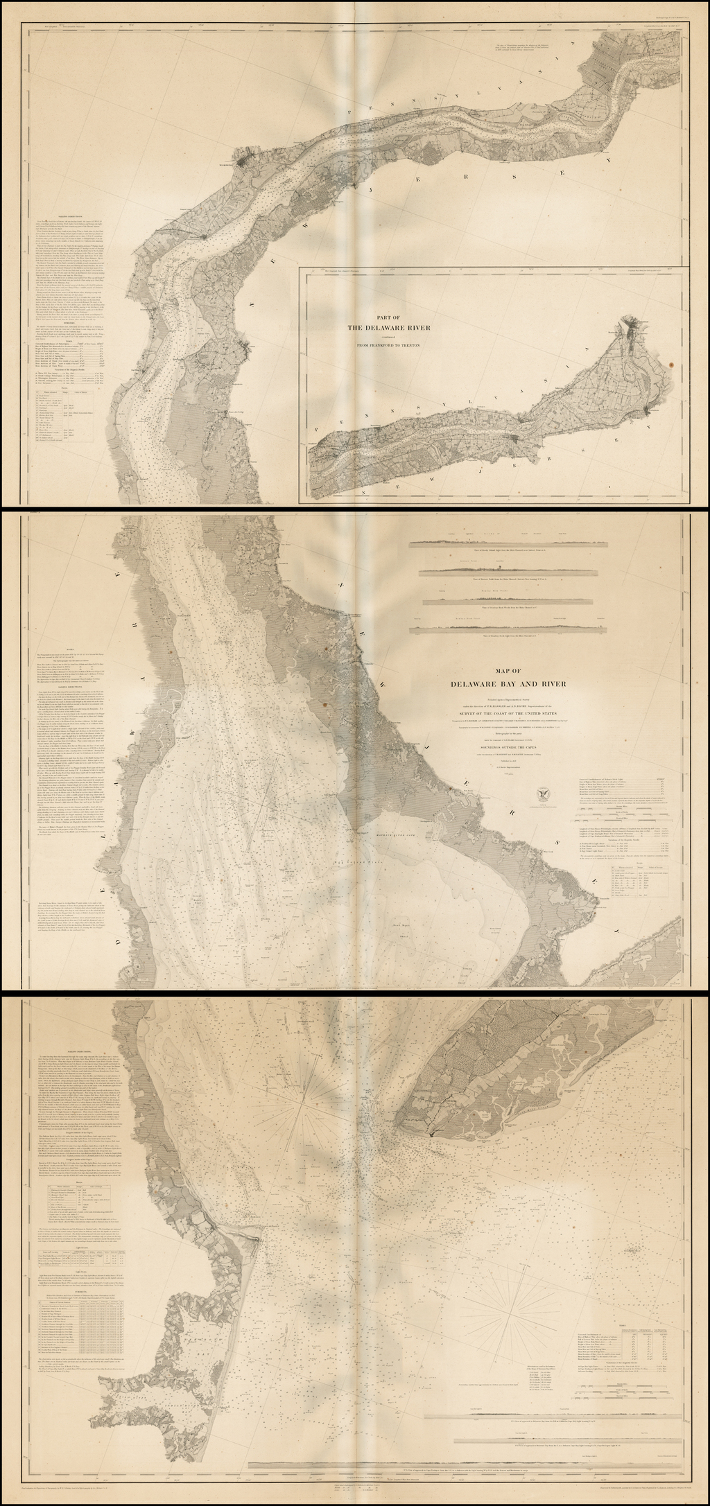 Map of Delaware Bay and River By U.S. Coast Survey