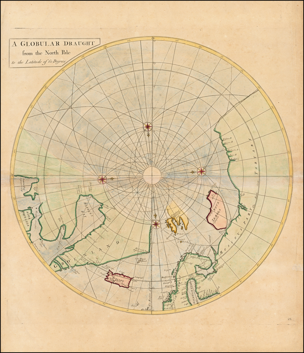 [North Pole] A Globular Draught from the North Pole to the Latitude of 60 degrees. By John Senex / Edmund Halley / Nathaniel Cutler