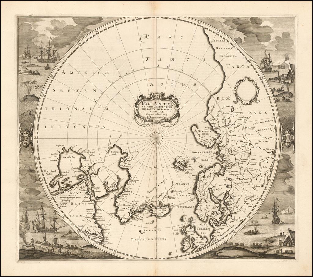 Poli Arctici, et Circumiacentium Terrarum Descriptio Novissima   By Henricus Hondius