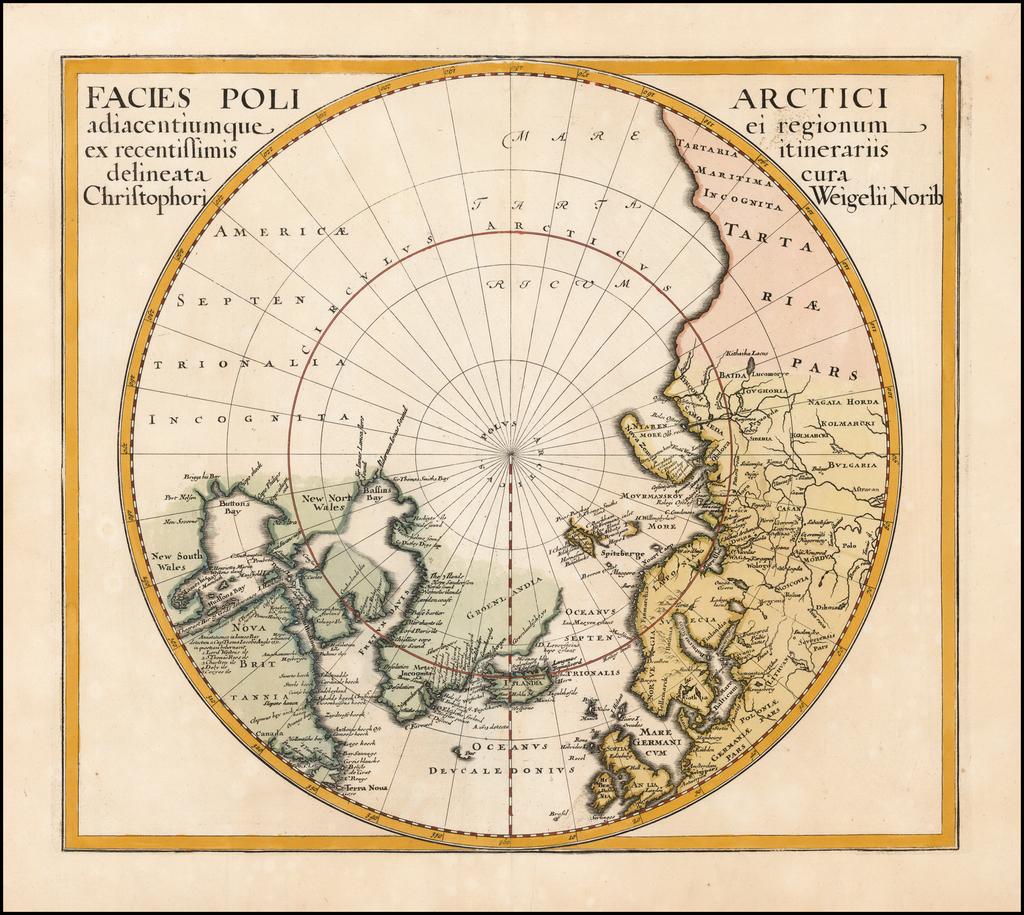 Facies Poli Arctici adiacentiumque ei regionum ex recentissimis itinerariis delineata cur Chrisophori Weigelii, Norib  By Christopher Weigel
