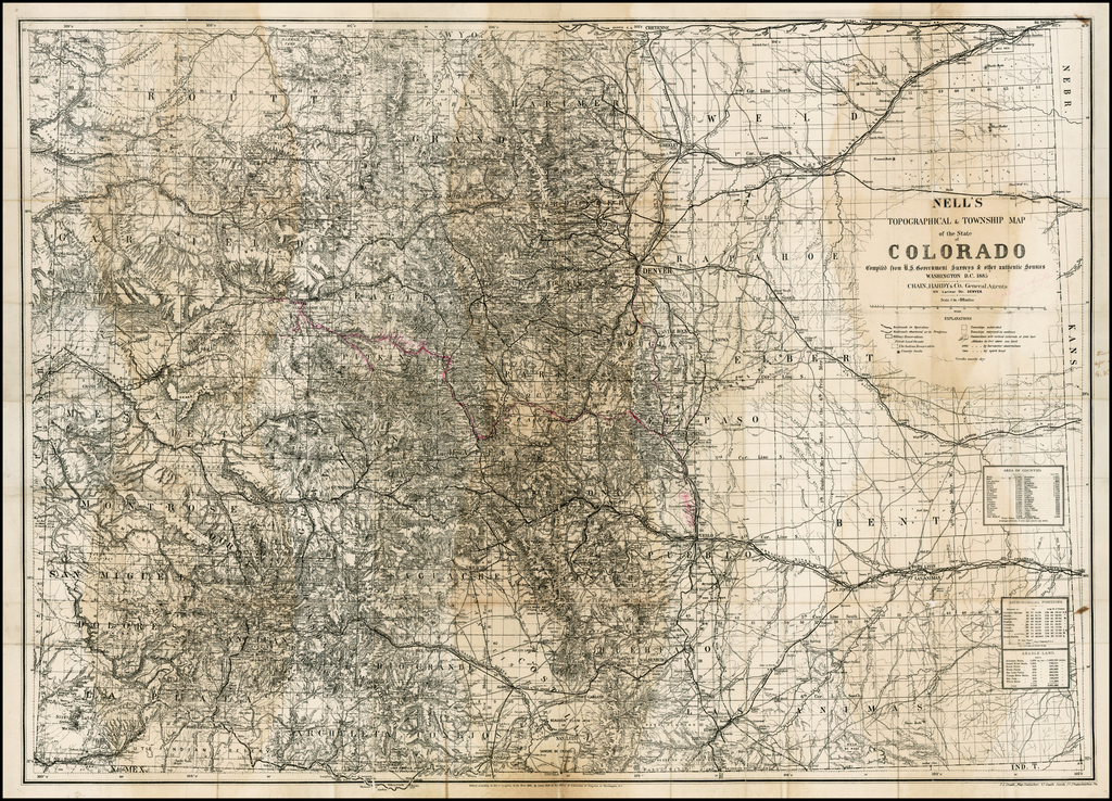 Nell's New Topographical & Township Map of the State of Colorado Compiled from U.S. Government Surveys & other authentic Sources . . .  By Louis Nell