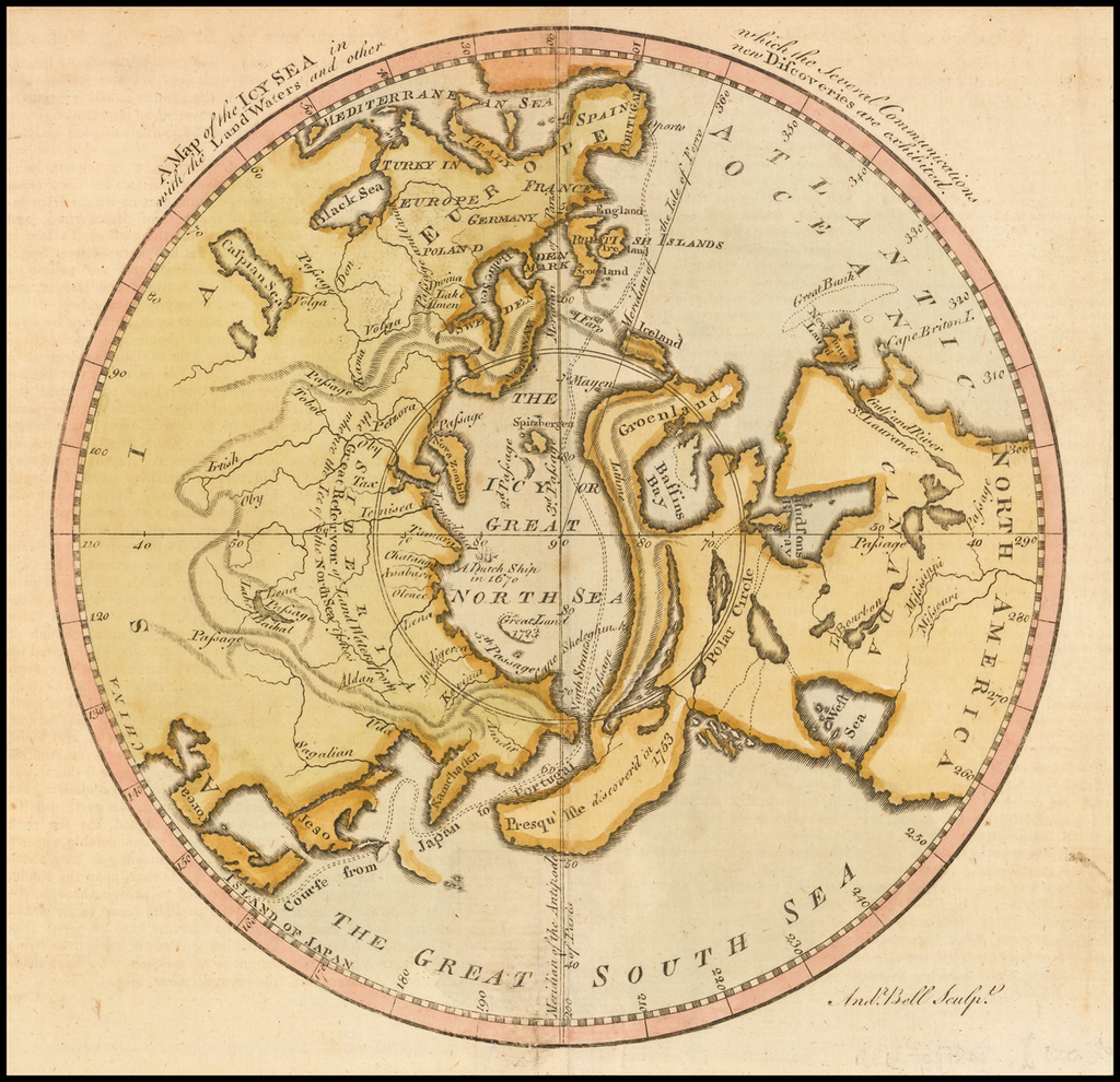 A Map of the Icy Sea in which the several Communications with the Land Waters and other new Discoveries are exhibited [Sea of the West] By Andrew Bell