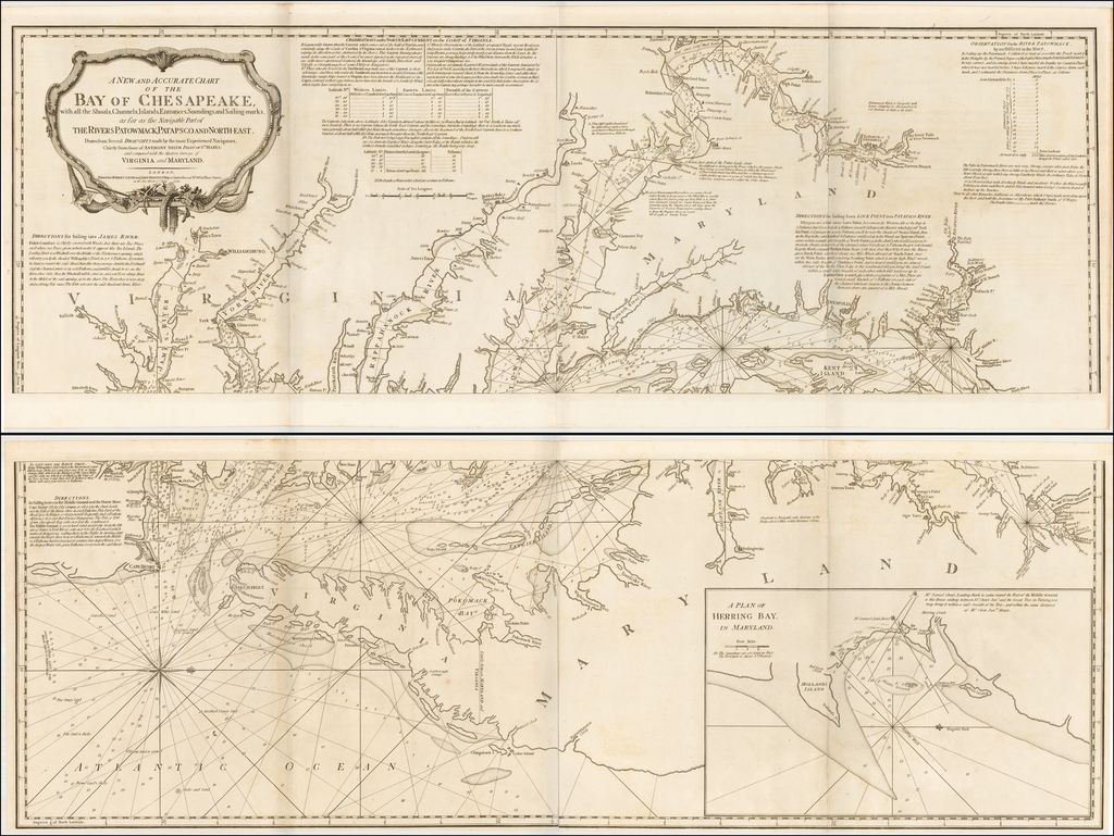 A New and Accurate Chart of the Bay of Chesapeake, with all the Shoals, Channels, Islands, Entrances, Soundings and Sailing-marks . . . Drawn from Several Draughts Made By the Most Experienced Navigators, Chiefly from those of Anthony Smith . . . 1776 By Robert Sayer  &  John Bennett