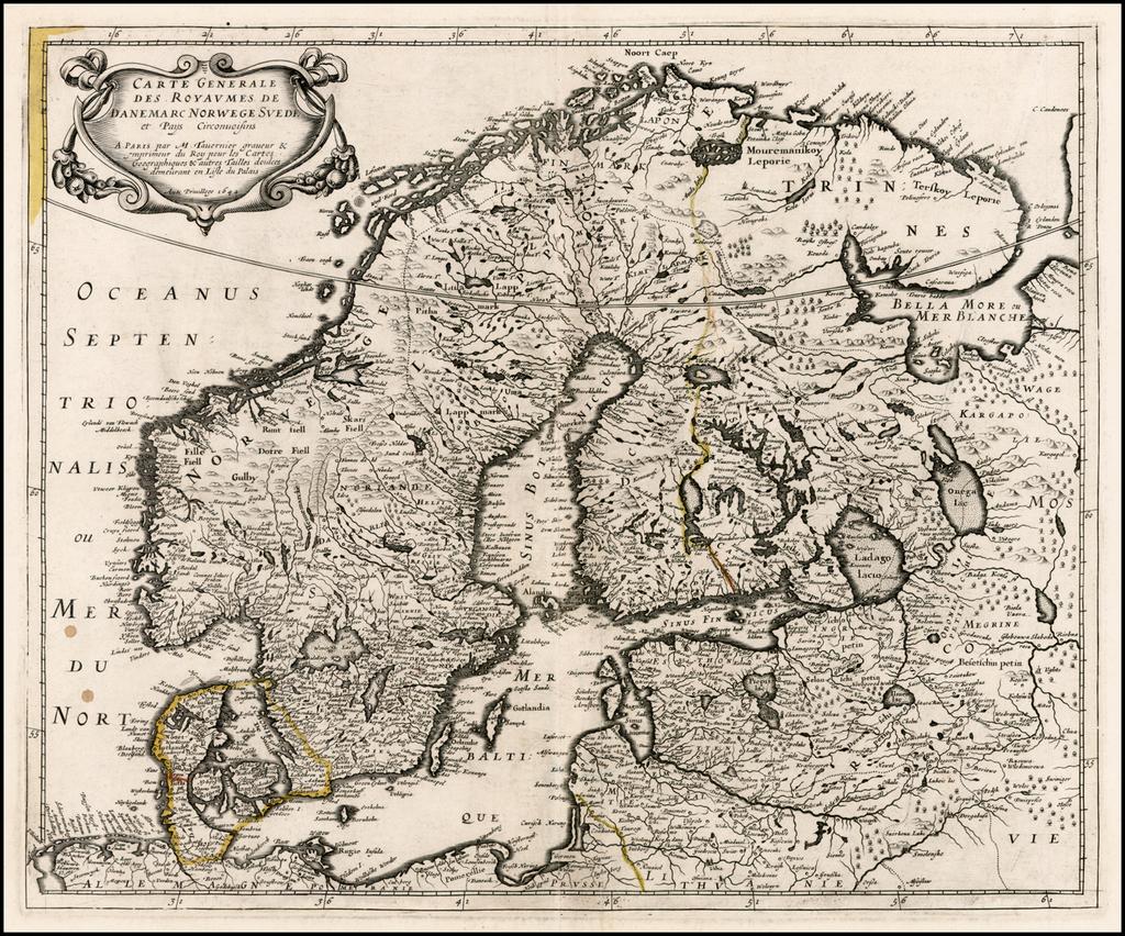 Carte Generale des Royaumes de Danemarc Norwege Suede et Pays Circonuoisins . . 1642 By Melchior Tavernier