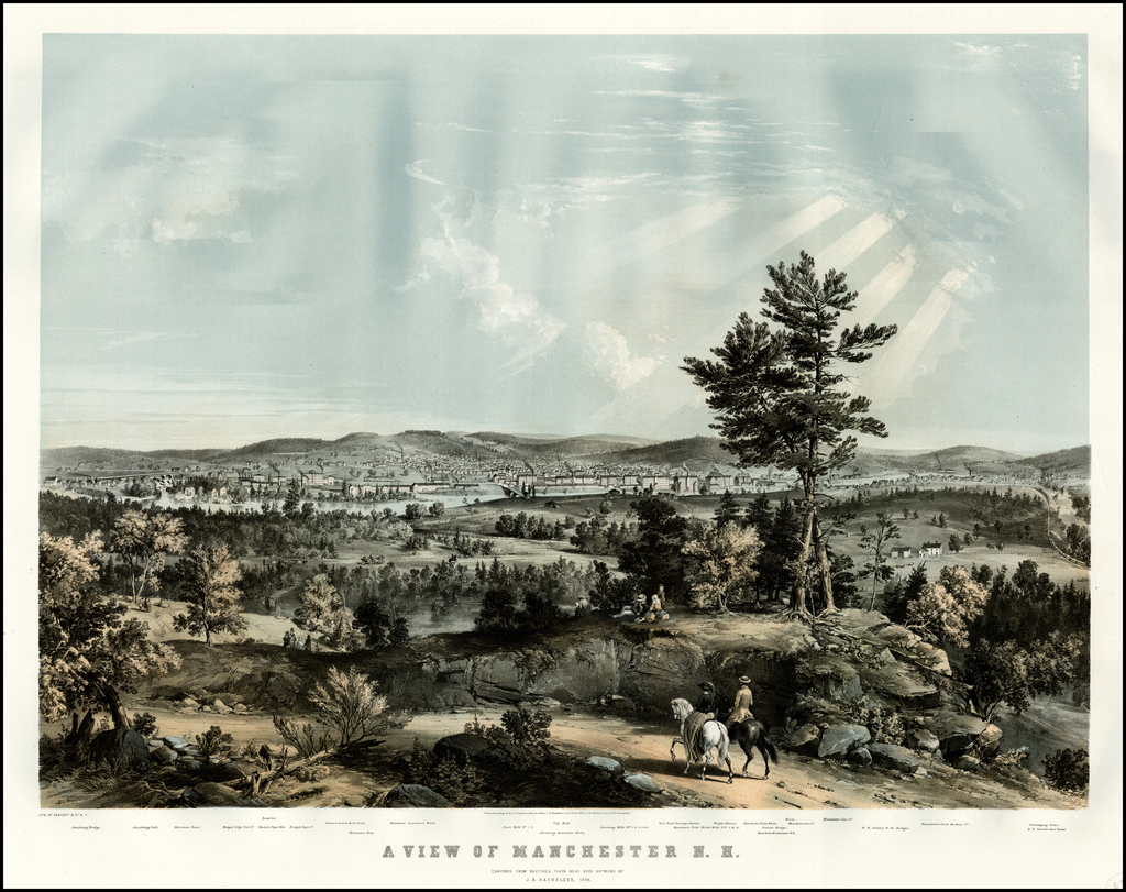 A View of Manchester N. H. Composed From Sketchcs Taken Near Rock Raymond By J. B. Bachelder, 1855 By John B. Bachelder