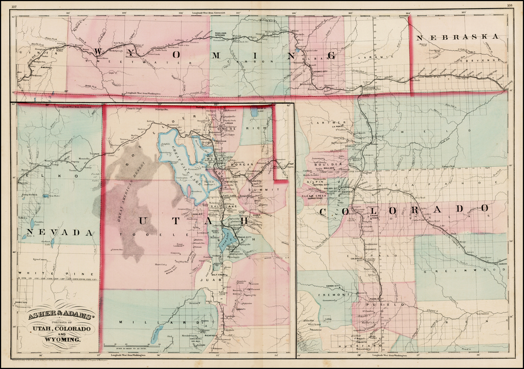 Asher & Adams' Portions Of Utah, Colorado and Wyoming. By Asher  &  Adams