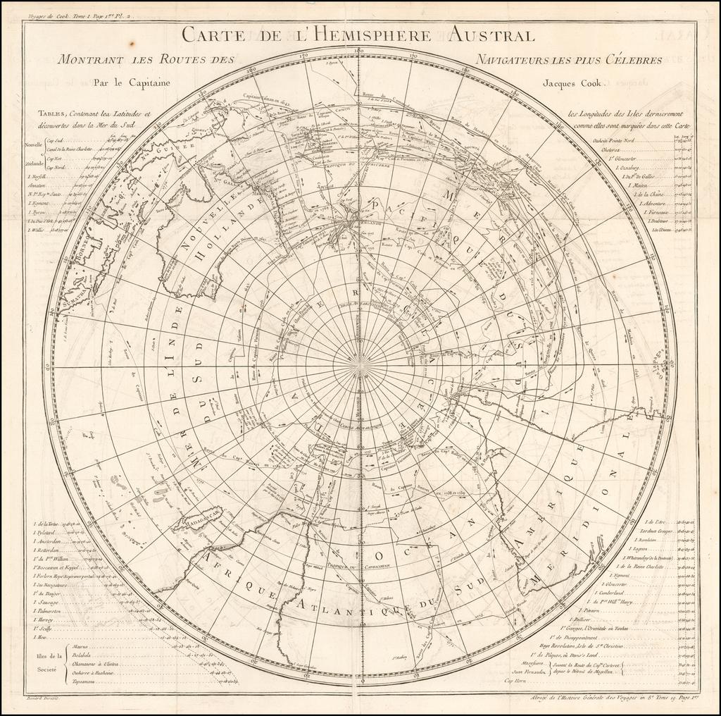 Carte De L'Hemisphere Austral Montrant Les Routes Des Navigateurs Les Plus Celebres par le Captaine Jacques Cook By Jacques Nicolas Bellin