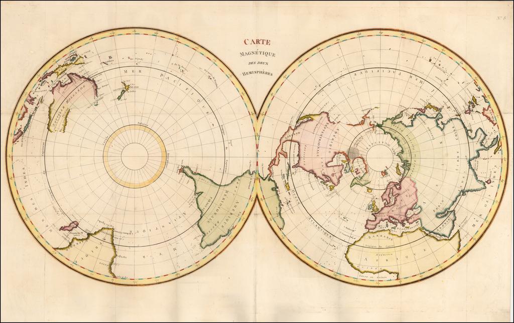 (World) Carte Magnetique des deux Hemispheres By Claude Buffier