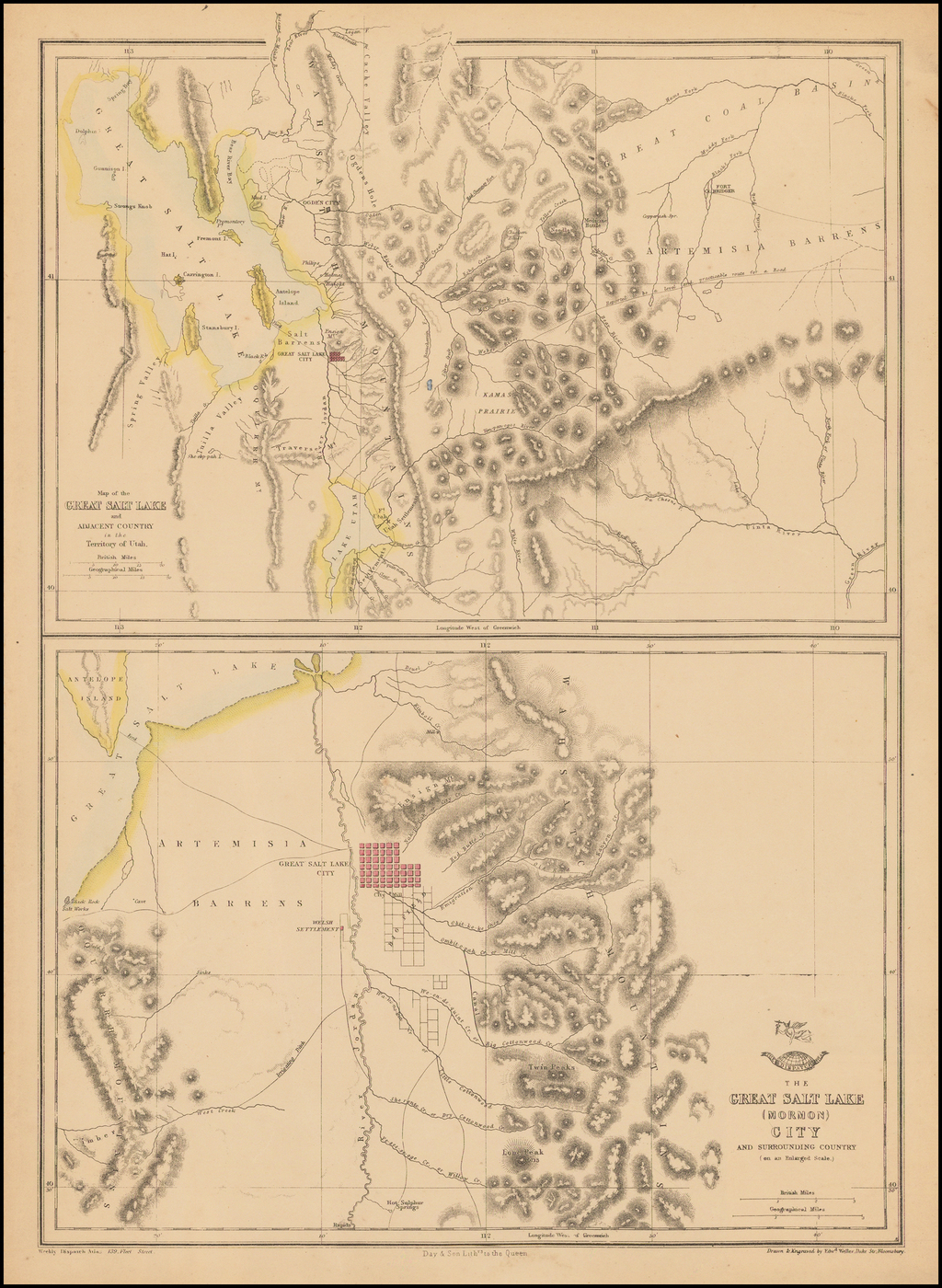 Map of the Great Salt Lake and Adjacent Country in the Territory of Utah [with] The Great Salt Lake (Mormon) City And Surrounding Country By Edward Weller