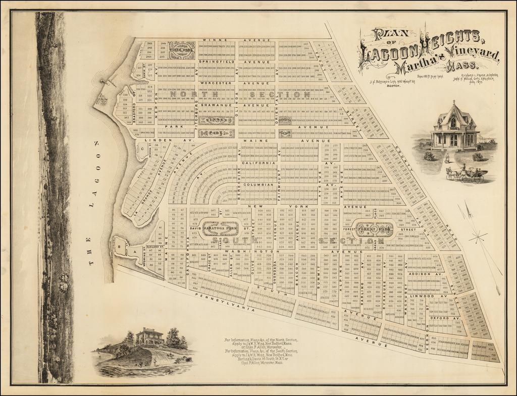 Plan of Lagoon Heights, Martha's Vineyard, Mass. . . 1873 By J.H. Bufford's Lith.