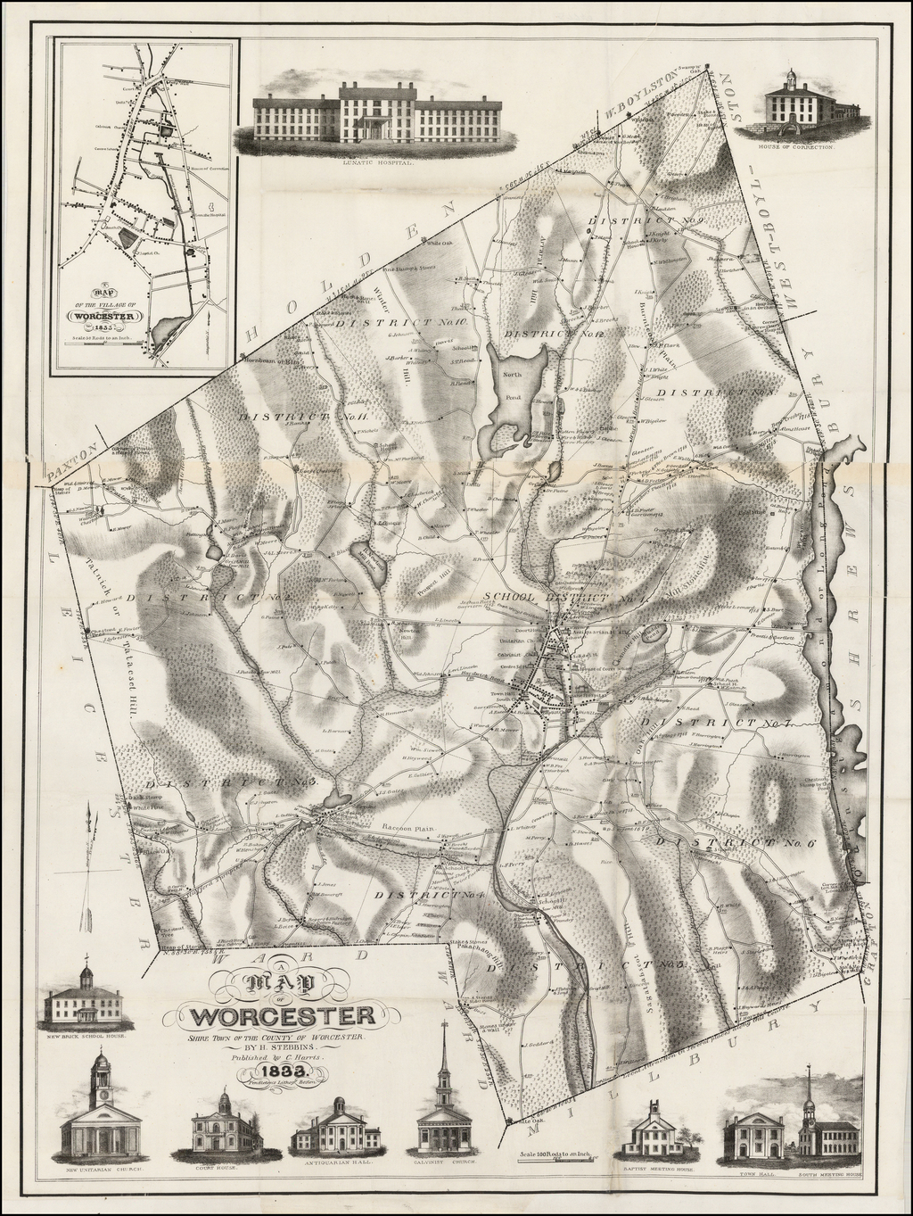 A Map of Worcester shire Town of the County of Worcester. By H. Stebbins.   Published by C. Harris.  1883. By Henry S. Stebbins