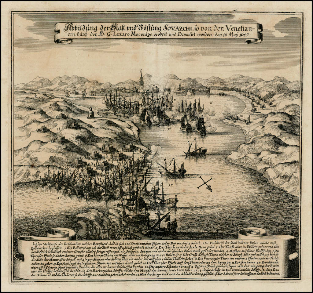 Abbildung der Statt und Bestung Sovazchi so von den Venetian=ern, durch H.G. Lazaro Mocenigo . . .  18 May 1657 By Matthaus Merian