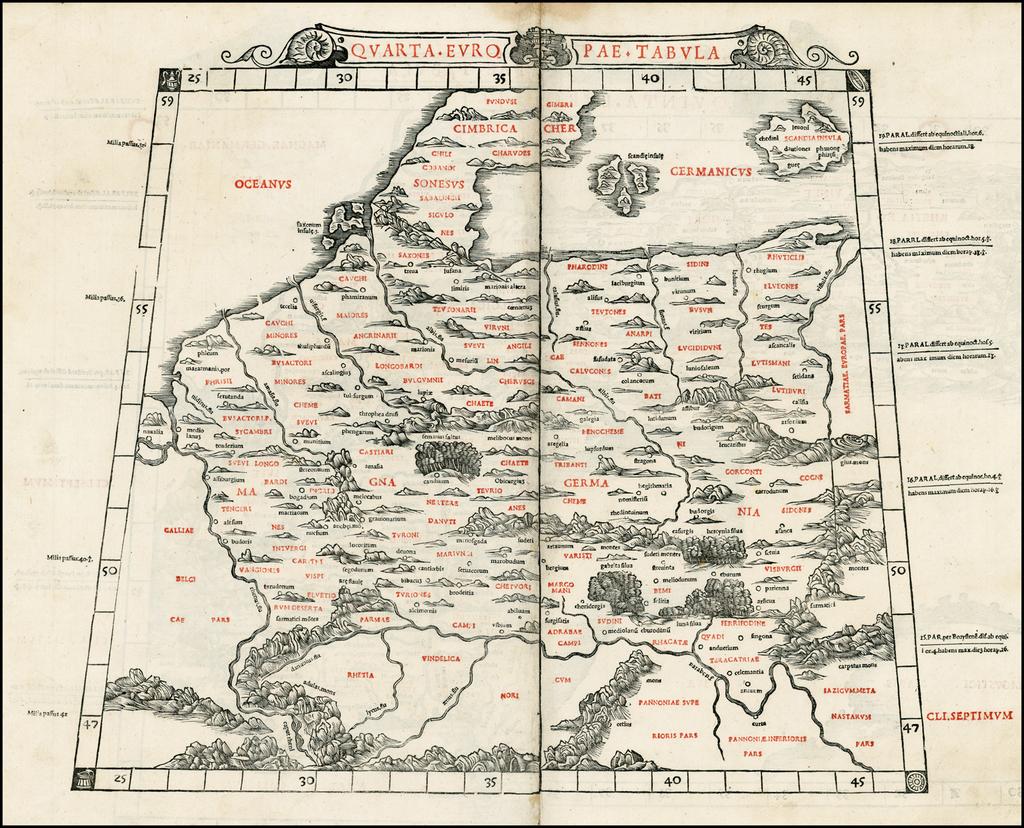 Quarta Europae Tabula (Germany, Poland, Low Countries) By Bernardus Sylvanus