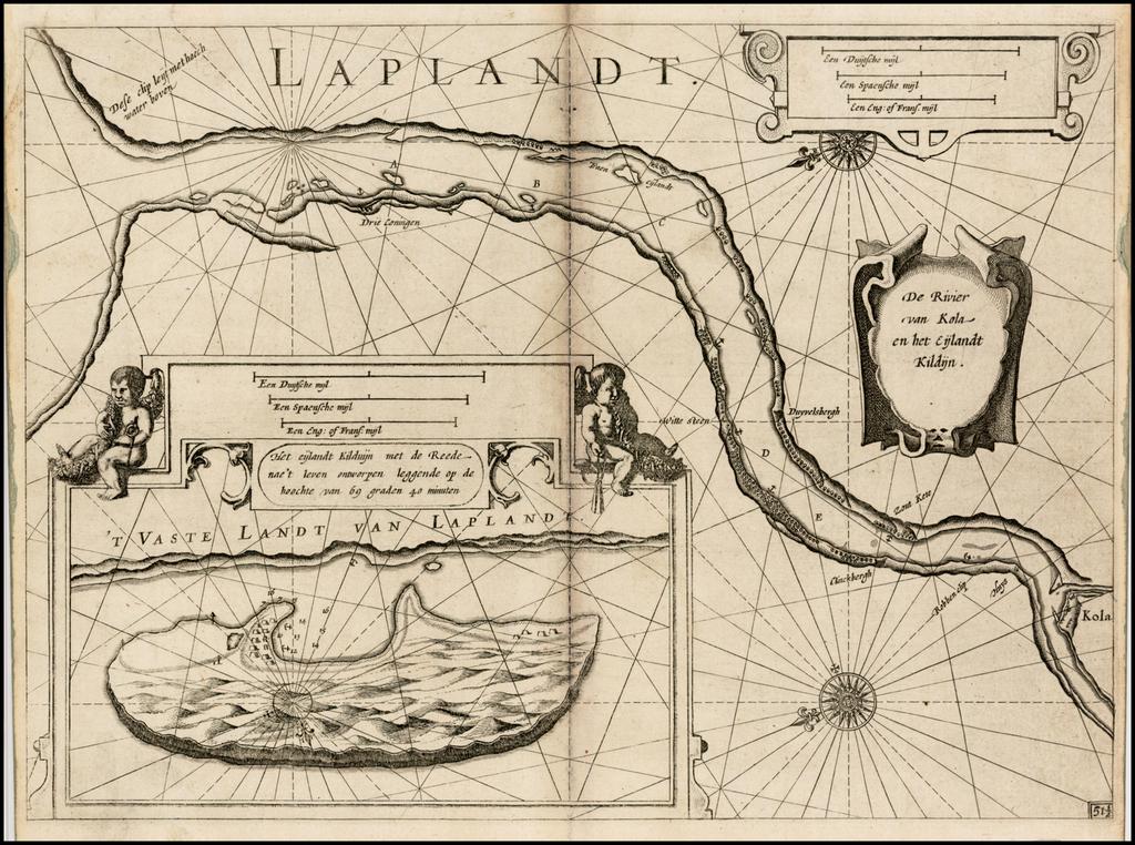 De Rivier van Kola en het Eijlandt Kildijn . . .  By Willem Janszoon Blaeu