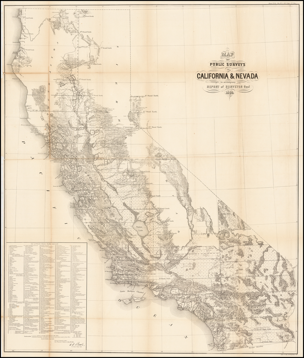 Map of Public Surveys in California & Nevada to Accompany Report of Surveyor Genl.  1863 By General Land Office